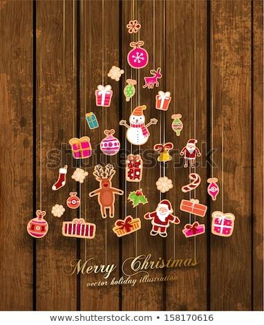 karácsony · ágak · karácsonyfa · díszített · cukorkák · léggömbök - stock fotó © vlad_star