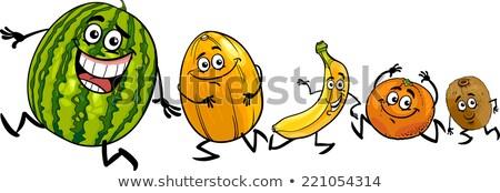Funny pomarańczy maskotka cartoon charakter uruchomiony odizolowany Zdjęcia stock © hittoon