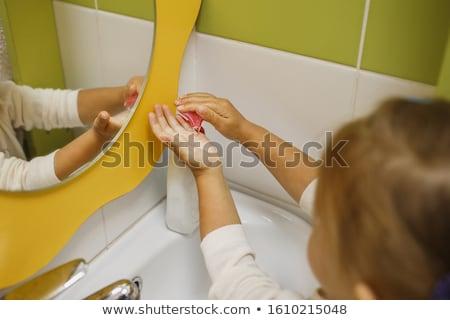 Children washing their hands in a primary school bathroom stock photo © monkey_business