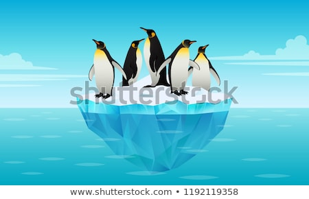 Flock of emperor penguins on ice floe in cold water Stock photo © MarySan