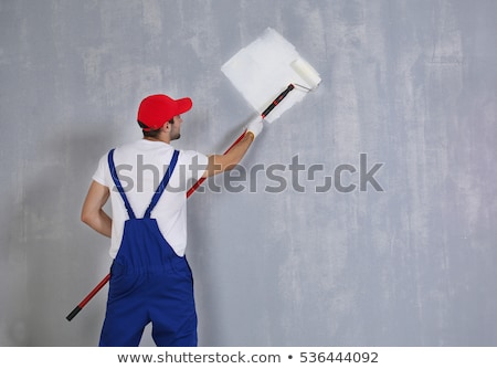 manitas · pared · pintor · gris · Cartoon · ilustración - foto stock © andreypopov