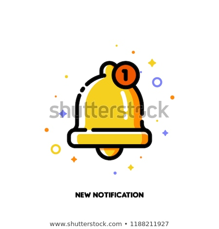 Icon of cute golden bell for new notification concept. Flat Stock photo © ussr