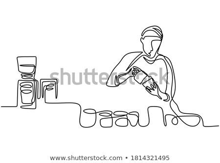Barista coffeeshop vector geïsoleerd illustratie man Stockfoto © pikepicture
