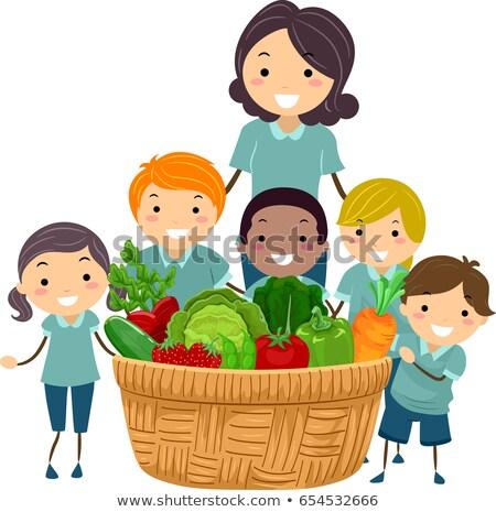 Stickman Teacher Harvest Basket Illustration Stock photo © lenm