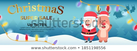 Сток-фото: Рождества · продажи · Дед · Мороз · мегафон · снега · сцена