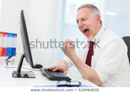 Very happy businessman looking at his computer monitor Stock photo © Minervastock