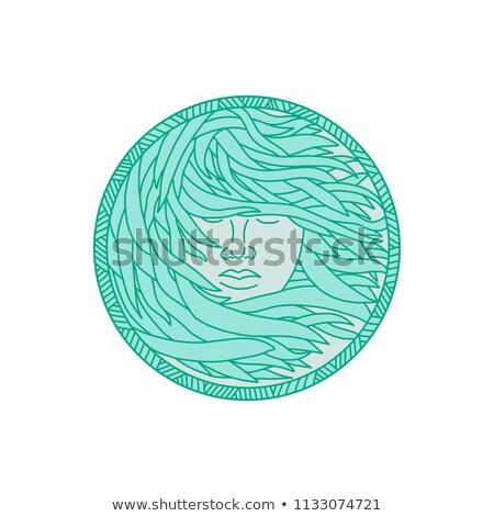 Polynesian Woman Sea Kelp Hair Circle Mono Line Stock photo © patrimonio