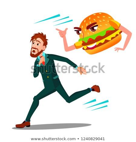 Paura uomo via hamburger vettore isolato Foto d'archivio © pikepicture