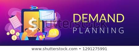 Demanda planificación banner apretón de manos laptops Foto stock © RAStudio