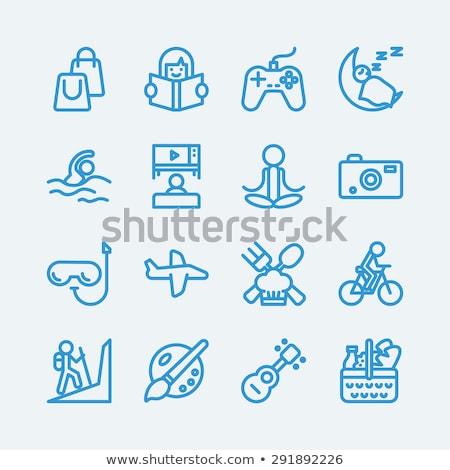 szett · ikonok · tevékenységek · dedikált · anya · lánygyermek - stock fotó © robuart