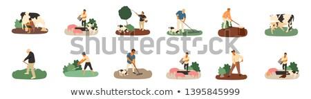 Landbouwer mensen varken koe vector geïsoleerd Stockfoto © robuart