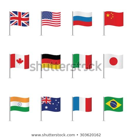 Foto stock: Dos · banderas · India · aislado · blanco