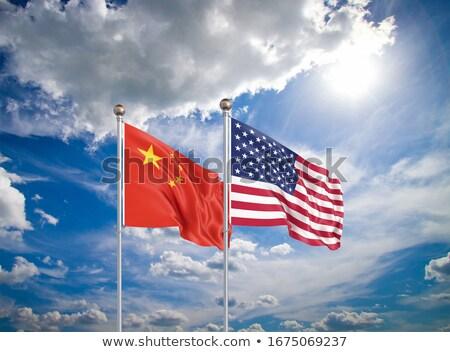 Сток-фото: два · флагами · Соединенные · Штаты · Китай · изолированный