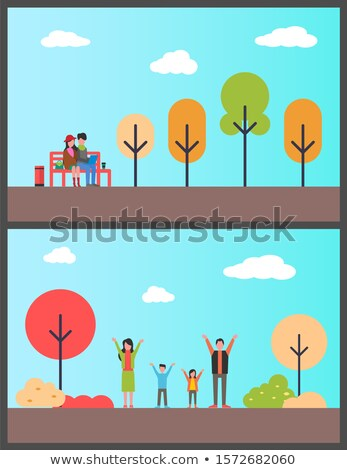 Family in Autumn Park, Couple Freelancers on Bench Stock photo © robuart
