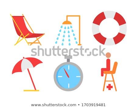 Praia espreguiçadeira emblema desenho animado isolado vetor Foto stock © robuart