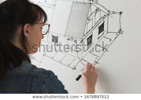 Stockfoto: Vrouwelijke · architect · tekening · blauwdruk · potlood