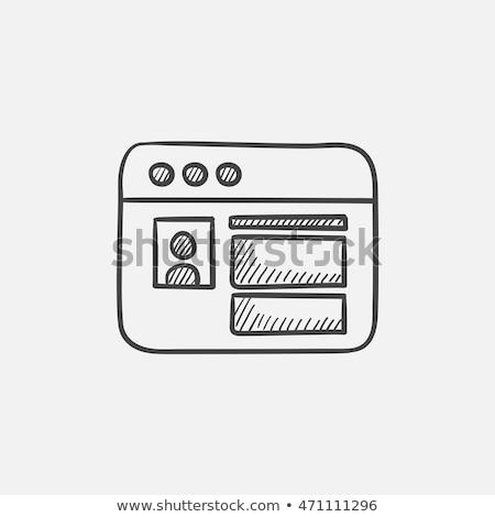 Böngésző ablak közösségi háló weboldal kézzel rajzolt skicc Stock fotó © RAStudio