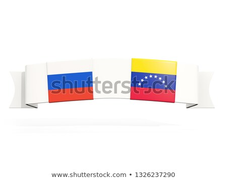 Banner with two square flags of Russia and venezuela Stock photo © MikhailMishchenko