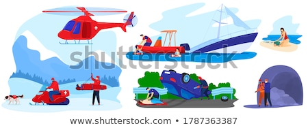 beach rescuer vector isolated flat cartoon illustration stock photo © pikepicture