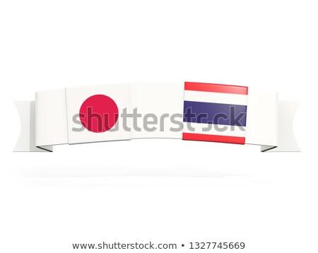 Banner due piazza bandiere Giappone Thailandia Foto d'archivio © MikhailMishchenko