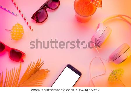 Yaz manzara sahne palmiye yaprağı çiçekler hindistan cevizi Stok fotoğraf © neirfy