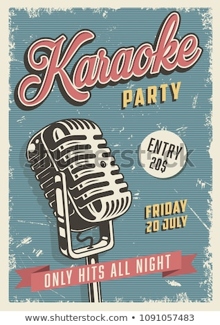 Stock photo: Karaoke Poster Vector. Retro Concert. Karaoke Club Background. Mic Design. Creative Layout. Audio El