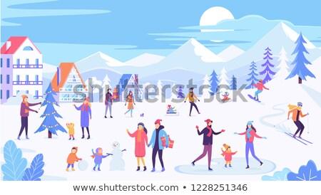 Kinderen schaatsen bevroren ijs meer stad Stockfoto © robuart