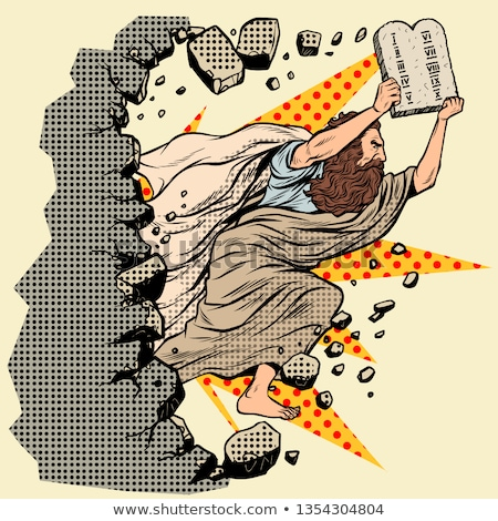 Moses with tablets of the Covenant 10 commandments breaks a wall, destroys stereotypes Stock photo © studiostoks