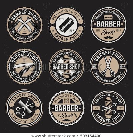 Color vintage hairdresser salon emblem Photo stock © netkov1