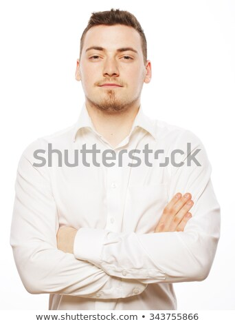 Attractive office man wearing white shirt expressing success, wh Stock photo © deandrobot