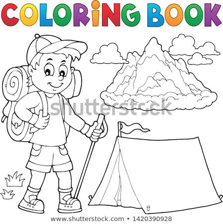 Libro da colorare escursionista ragazzo argomento libro sport Foto d'archivio © clairev