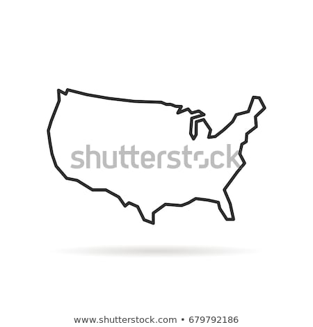 black thin line usa map contour. education infographic element. stroke flat style design. Vector ill Stock photo © kyryloff