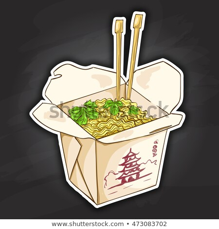 chinese noodles box color picture sticker Stock photo © netkov1