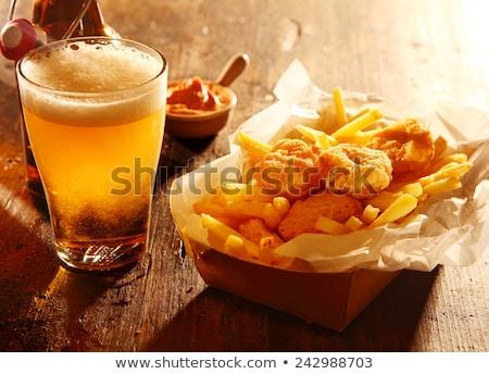 Photo stock: Bière · collations · bois · noix · puces · saucisses