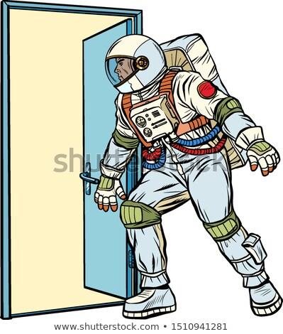 űrhajós ajtó ismeretlen pop art retro vektor Stock fotó © studiostoks