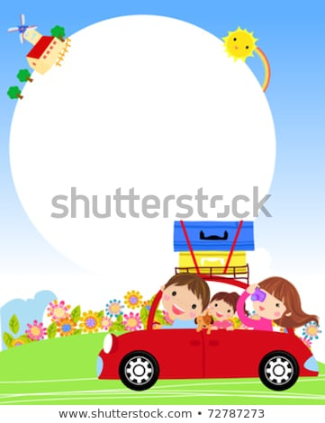 happy family with kids traveling vector image stock photo © robuart
