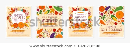 Marketplace with Apples, Harvesting Fruit Vector Stock photo © robuart