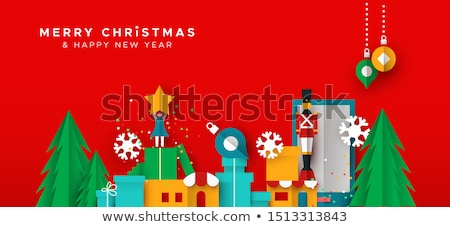 Christmas and New Year card of papercut toy city Stock photo © cienpies
