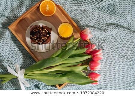 Delicous chocolates and fresh tulips Stock photo © BarbaraNeveu