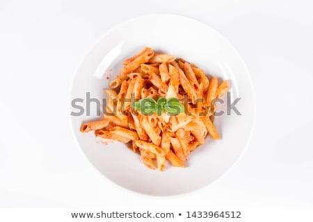 Macarrão pesto comida madeira vermelho refeição Foto stock © Pheby