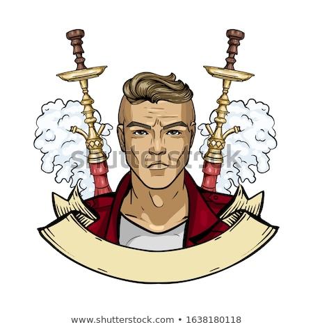 эскиз плакат человека кальян цвета Сток-фото © netkov1