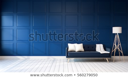 Empty room with Modern dark blue wall and white wooden floor  Stock photo © sedatseven
