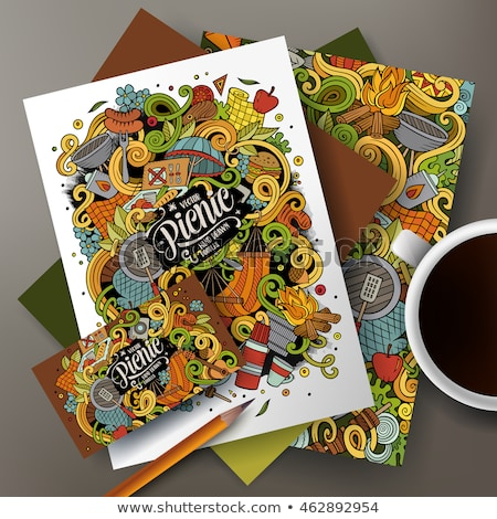 ピクニック 手描き いたずら書き バナー 漫画 詳しい ストックフォト © balabolka