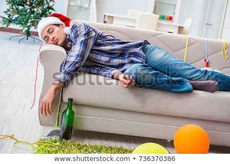 Człowiek kac christmas strony biuro wina Zdjęcia stock © Elnur