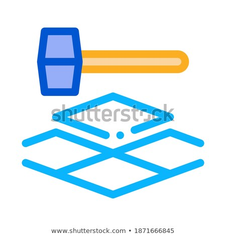 tile hammer icon vector outline illustration Stock photo © pikepicture