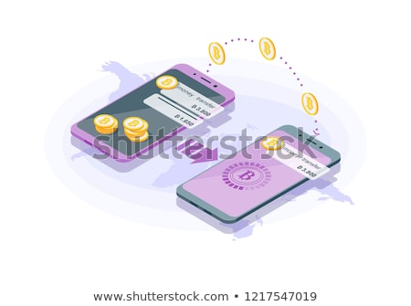 Smartphones with cryptocurrency transaction finance operation. Sending and receiving bitcoin. Vector Stock photo © karetniy
