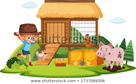 Cute girl and many chickens on the farm Stock photo © bluering