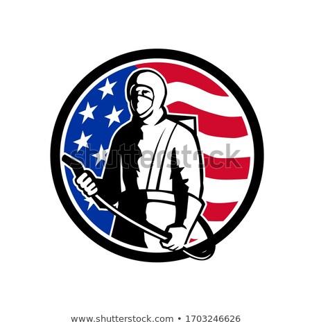 Endüstriyel işçi sprey dezenfektan ayakta ABD Stok fotoğraf © patrimonio