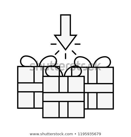 Három ajándékdobozok kattintás nyíl online vásárlás skicc Stock fotó © yupiramos
