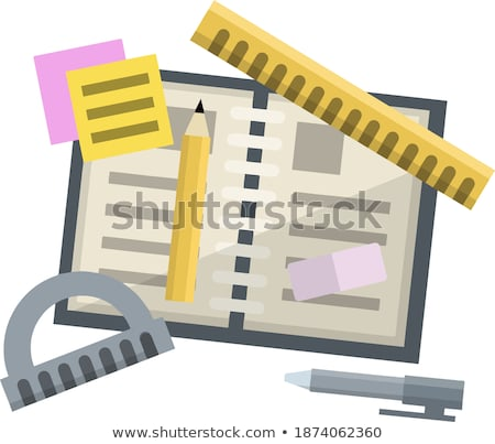 graphic design sheet protractor ruler and pen Stock photo © yupiramos